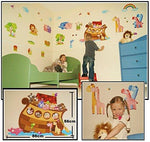 Boys Girls Kids Childrens Childs Baby Nursery Playroom Bedroom Noah Noah's Ark Animals Religous Wall Furniture Stickers Decals Stickarounds Decor Room Makeover