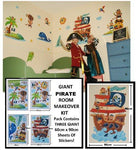 Boys Girls Kids Childrens Childs Baby Nursery Playroom Bedroom Pirates Galleon Buckaneers Monkeys Wall Furniture Stickers Decals Stickarounds Decor Room Makeover