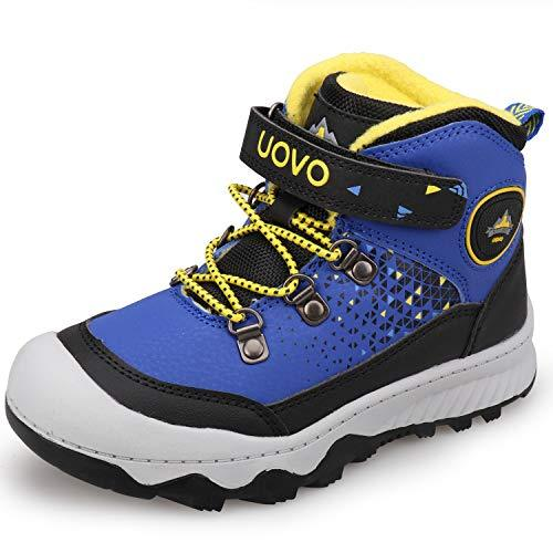 Boys Trainers Hiking Shoes Cilmbing Boots Mid-top Walking Shoes Fleece Lining Autumn Winter Shoes Blue Size 2
