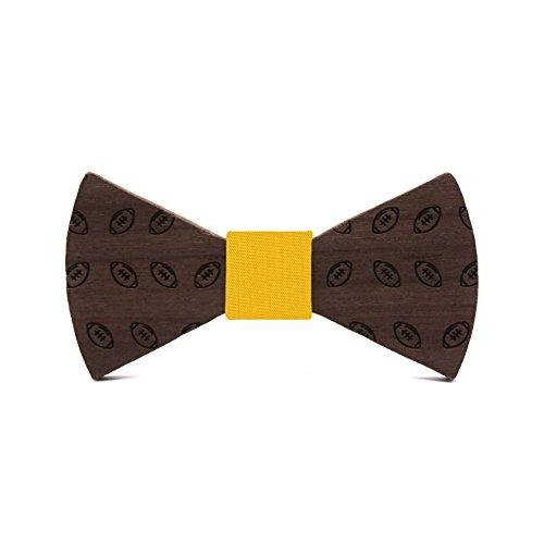 Boys wooden bow tie Rugby. Children collection: Sporty design with balls, made of walnut by Territorial. Wedding, communion & events fashion. Original gift. Adjustable strap (Mustard)