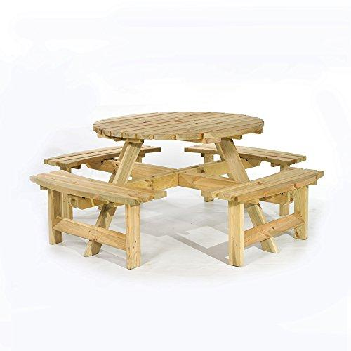 Super Brackenstyle Picnic Pub Bench 8 Seater Round Wooden Garden Patio Table Thick Timbers Dailytribune Chair Design For Home Dailytribuneorg