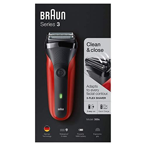 Braun Series 3 300s Rechargeable Electric Foil Shaver/Stubble Shaver for Men Face, Red