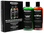 Brickell Men's Daily Revitalizing Hair Care Routine - Mint & Tea Tree Oil Shampoo + Strength & Volume Enhancing Conditioner - Natural