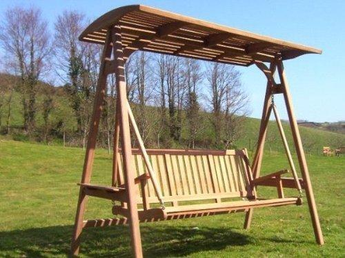 Brighton - Solid Teak 2 Person Swing Seat with Fabric Canopy