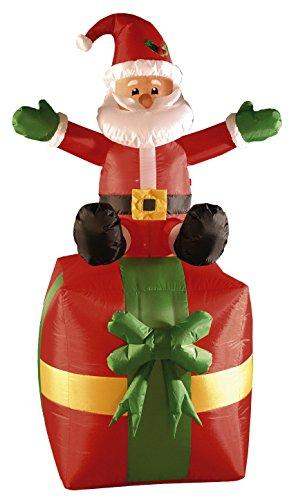 Brite Ideas Inflatable Red Present with Santa Sat on Top 180 cm