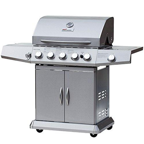 broil-master Professional Portable BBQ Gas Grill 5 + 1 Burner Stainless Steel Barbecue with 2 Side Racks