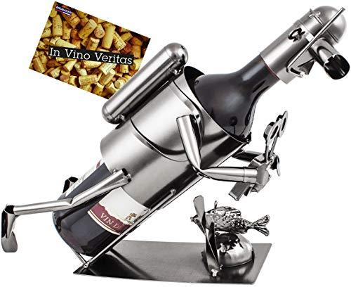 BRUBAKER Diver with Camera Wine Bottle Holder Stand Rack Home Kitchen Table Art Decoration with Gift Card