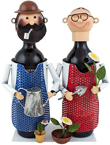 BRUBAKER Pair of Gardener Wine Bottle Holder Stand Rack Home Kitchen Table Art Decoration with Gift Card