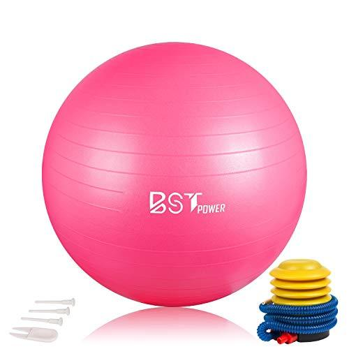 BSPPOWER Exercise Ball - Non-slip Stability Ball - Anti Burst Yoga Ball - Heavy Duty Balance Ball - Extra Thick Fitness Ball for Home, Gym, Office with Quick Pump(Multiple Colors & Size)