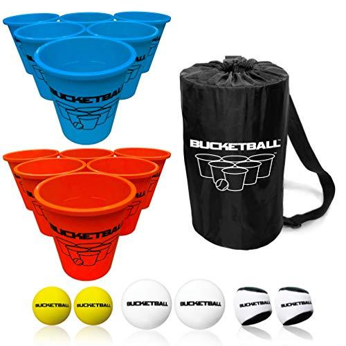 BucketBall - Beach Edition Combo Pack - Ultimate Beach, Poolside, Backyard, Camping, Tailgate, Outdoor Game - Includes 12 Buckets, 6 Game Balls, Tote Bag, Instructions