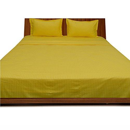 "BudgetLinen 4PCs Water Bed Sheet Set (Yellow Stripe, Small Double(4ft x 6ft 3""), Pocket Size 34cm) 100% Egyptian Cotton Premium Quality 300 Thread Count"