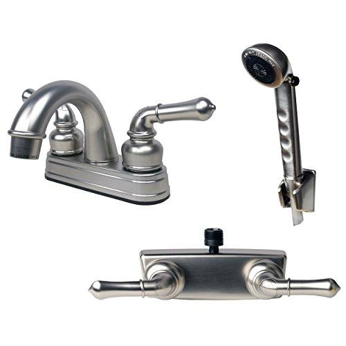 Builders Shoppe 2001BN/3220BN/4120BN RV Bathroom and Shower Faucet with Matching Hand Shower Combo Brushed Nickel Finish