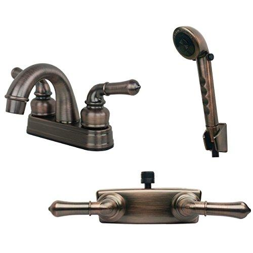 Builders Shoppe 2001BZ/3220BZ/4120BZ RV Bathroom and Shower Faucet with Matching Hand Shower Combo Brushed Bronze Finish