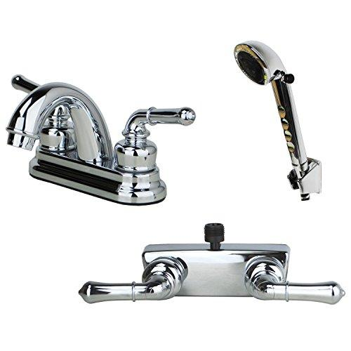 Builders Shoppe 2001CP/3220CP/4120CP RV Bathroom and Shower Faucet with Matching Hand Shower Combo Chrome Finish