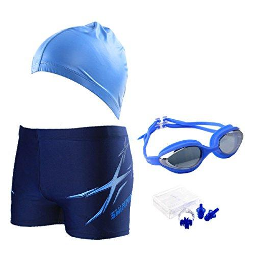 BUKUANG Men's Quick-drying Swimming Trousers Hat Angle Large Size Swimsuit Fashion Goggles Nose Clip Ear Swim Suit,BlueSlated-XXXL