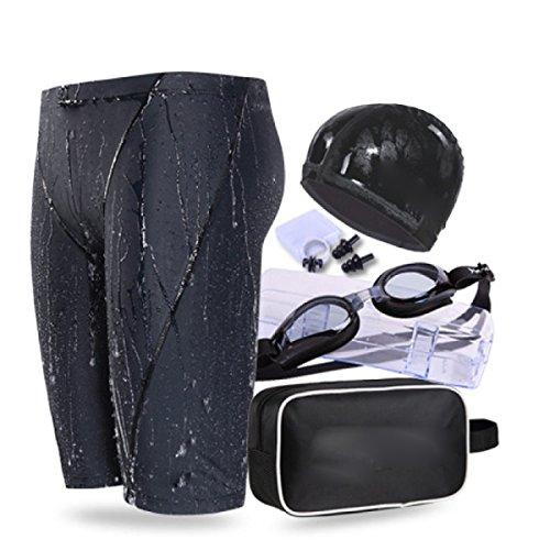 BUKUANG Men's Swim Trunks Adult Myopia Goggles Anti-fog Angle Pu Swimming Trousers Swimming Cap Suit High-end Swimming Equipment,300-XXL