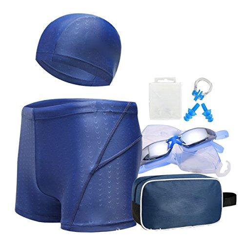 BUKUANG Men's Swim Trunks Goggles Sets Adult Large Box Plating Swimming Goggles PU Waterproof Swimming Cap Swimsuit,E-XXL