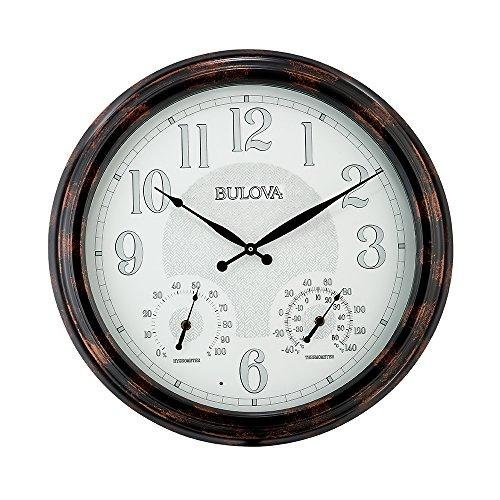 Bulova Weather Mate Wall Clock, Brown, 22""
