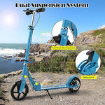 Bunao 200mm Wheels City Scooter Adult Scooter with Dual Suspension, Height-Adjustable Urban Scooter Folding Kick Scooter (Color10)