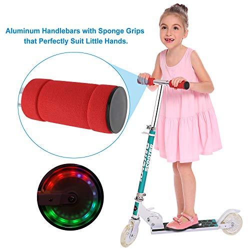 Bunao Children Kids Foldable Adjustable Height LED 2-Wheel Kick Scooter Light Up Wheels (White)