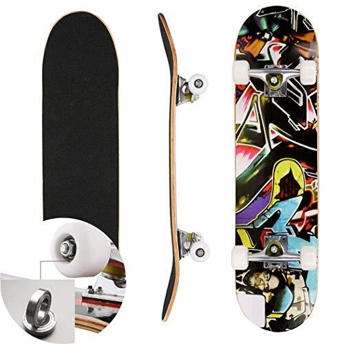 Bunao Complete Beginners Double Kick Trick Skateboard, 30.6 x 7.6 x 3.7inch Maple Deck (Color3)
