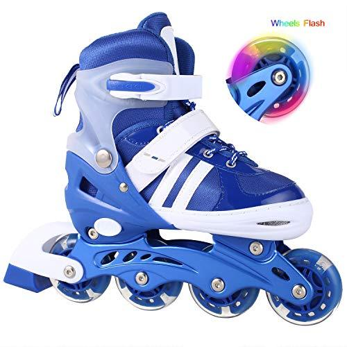 Bunao Girls Boys Adjustable Flashing Inline Skates, Fun Illuminating Rollerblades for Children and Adults, Start Roller Skating (Color6, UK_4-7/EU_39-42)