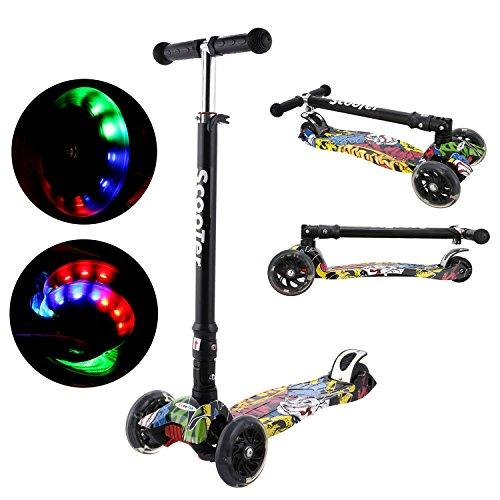 Bunao Kids Scooter Tilt and Turn Kick 3 Wheel Lightweight scooter for Toddler with LED Light Up Wheels, Adjustable Height for Children Boys Girls Scooter Age 3-13 (Color1)