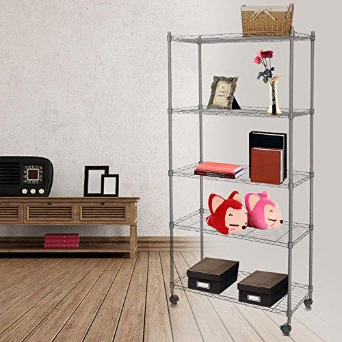 Bunao [ UK STOCK ] 5 Tiers Rolling Carts with Wheels Wire Shelving Casters Rack Shelves Unit Steel Construction (Silver)