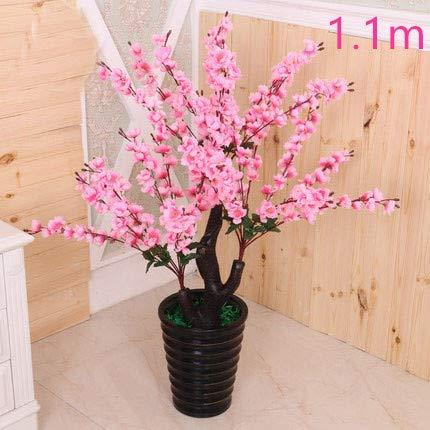 Bureze Artificial tree+ flowerpot peach flower fake tree potted DIY wedding garden hotel Christmas home decor tree plastic plant bonsai