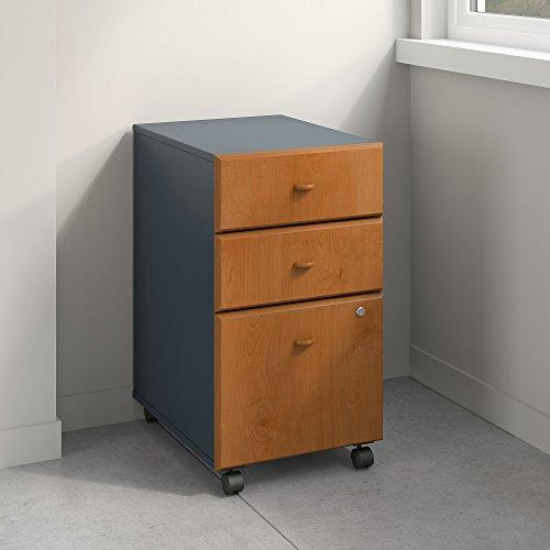Bush Business Furniture Series A 3 Drawer Mobile File Cabinet in Natural Cherry Slate