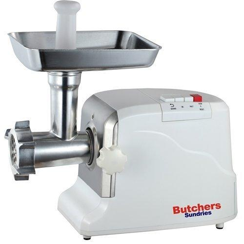 Butchers Sundries Heavy Duty Electric Meat Mincer Grinder and Sausage Maker | Includes 3 Sausage Making Attachments | 3 Heavy Duty Cutting Plates and Food Pusher
