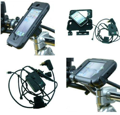 BuyBits Addons Hella/DIN Powered iPhone 5 Waterproof M8 Motorcycle Handlebar Top Clamp Tough Case Mount (sku 16256)