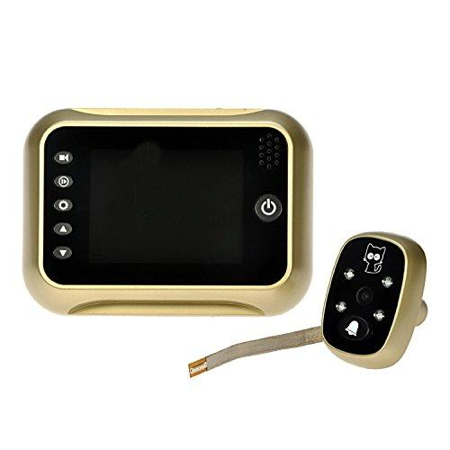 "BW® 3.5"" Screen Wide Lens 120 Degree Angles Viewing Peephole Viewer Camera DVR IR Motion Detection Gold/Sliver for 24 Hours Security Surveillance Support Multi Language Night Vision (Golden)"