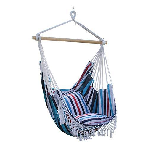 Bycws Hammock Chair, Hanging Chair Swing Chair Cotton Tassel Quality Cotton Weave for Superior Comfort & Durability