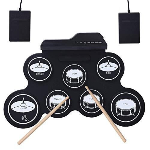 CAHAYA Roll Up Electronic Drum Kit Foldable Musical Entertainment Practice with 2 Foot Pedals and 2 Drum Sticks Portable Electronic Drum for Kids and Drum Beginner