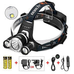 Caloics® Headlamp 5800 Lumens with 3 XML L2 LED BORUIT Super Bright Flashlight for Hunting, Camping, Night Fishing, Running, Reading, Kids, Perfect Hands-free Rechargeable & Waterproof Work Light