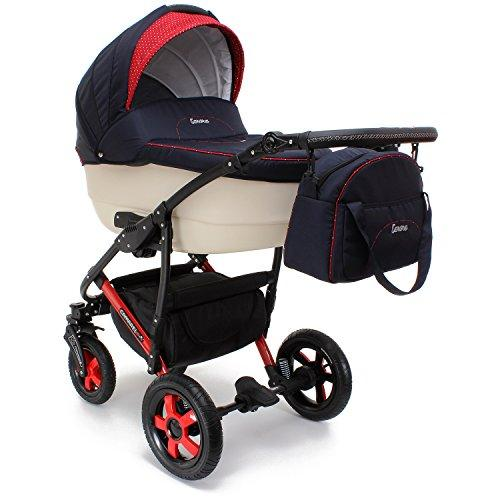 Camarelo Carera 3 in 1 Combi Pushchair (Sports Seat and Carry Cot with Baby Seat Isofix Base, Pneumatic Tyres & Accessories)