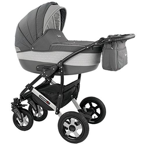 Camarelo Carera 3 in 1 Combi Pushchair (Sports Seat, Baby Seat, Pneumatic Tyres with Cot & Accessories)