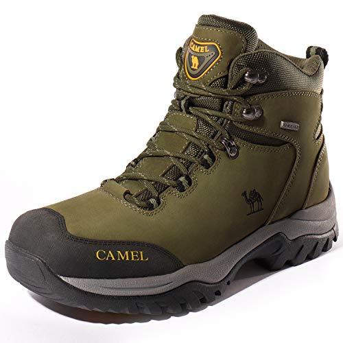 Camel Crown Hiking Boots Men Walking Boots Waterproof Trekking Shoes Nubuck Climbing Shoes, Slip On Outdoor Shoes Suede Safety Shoes Military Boots Desert Lace up Boots Work Motorbike ArmyGreen