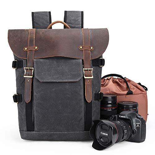 Camera Backpack, Canvas SLR DSLR Camera Bag Large Capacity Front Open Waterproof Anti-shock Camera Rucksack Camera Travel Bag Professional Camera Lens Organizer Black