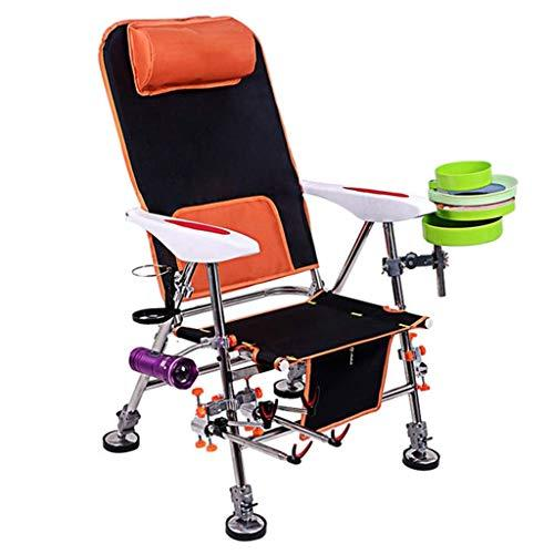 Camp Chair Fishing Chair Lightweight Aluminum Adjustable Folding Camp Fishing Chair with Rod Holder Portable Deck Chair