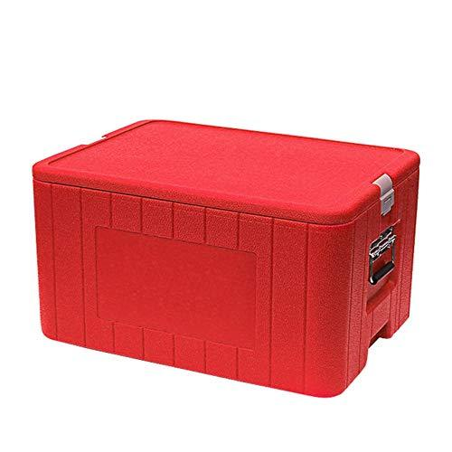 Camping cooler Food Incubator Freezer Commercial Fresh Box Outdoor Fishing Box Takeaway Box Delivery Box (Color : Red, Size : 63 * 49 * 39.5cm)