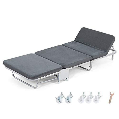 Camping loungers Folding Guest Single Bed, Foldable Lounge Chair Portable Fluff Mattresses with Adjustable Backrest and Free Pillow (Gray) (Size : 65X180X26CM)