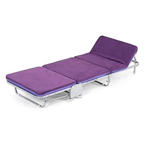 Camping loungers Folding Guest Single Beds With Mattresses Foldable Lounge Chair with Adjustable Backrest and Free Pillow (Purple) (Size : 65X180X26CM)