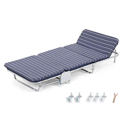 Camping loungers Folding Guest Single Beds With Mattresses Portable Lounge Chair with Adjustable Backrest and Free Pillow (Size : 65X180X26CM)