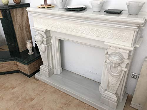 Canu CHIM.MÁRMOL White Marble Fireplace with Embossed Egyptian Goddesses Hand Carved Polished Finish