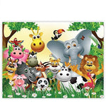 Canvas 100x75 cm - PREMIUM PLUS Canvas Picture Canvas Wall Art Canvas Art Print - JUNGLE ANIMALS PARTY - Nursery Kids Wallpaper Jungle Zoo Animals Giraffe Lion Monkey - no. 013