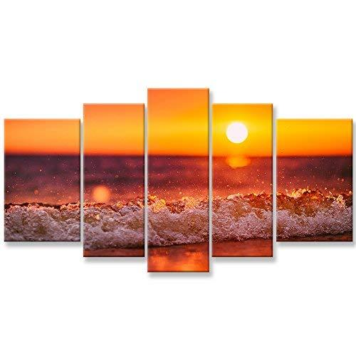 Canvas Wall Art Paintings For Home Decor Sunset Sea Wave Water Spray Picture 3 Pieces Modern Giclee Framed Artwork The Pictures For Living Room Decoration Beach Waves Seascape Photo Prints On Canvas