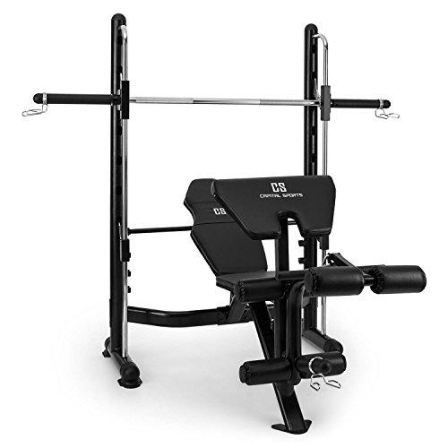 Capital Sports Domic Weight Bench Folding Multi Gym Adjustable for Training (7 Height Positions, Steel, Security Focused) Black