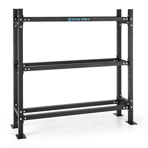 Capital Sports Traytor B Storage Rack Weight Rack 3 Levels Steel (Storage of Weights, Weight Plates or Wall Balls) - Black